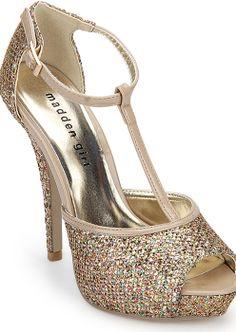 Gold T-strap party Stilletoes  via @Roposo #fashion #stilletoes #parties
