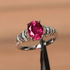 ruby ring anniversary ring July birthstone ring oval cut red