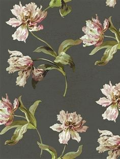 This modern floral wallpaper features scalloped parrot tulips. Find it at AmericanBlinds.com