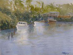 Boats at anchor, watercolour