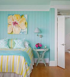 This is my first little girl's bedroom makeover in a long time and I'm really looking forward to creating a fantastical, wonderous space. Happy Room, Beach Room, Beach Bedroom Colors, Relaxing Bedroom Colors, Tropical Bedroom Decor, Bathroom Colors, Bedroom Color Schemes, Paint Schemes, Bedroom Themes