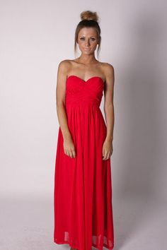 Esther Boutique - ruby chiffon gown- red