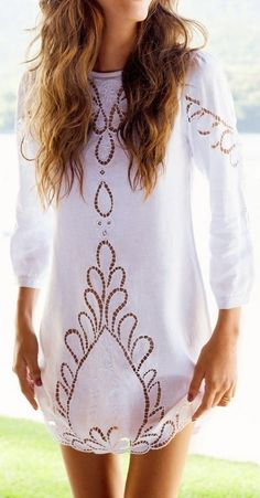 white tunic dress Gold detailing