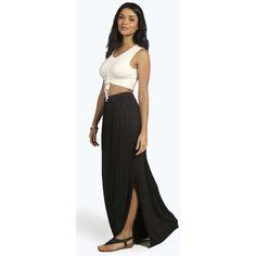 Boohoo Basics Lanie Side Split Floor Sweeping Maxi Skirt ($20) ❤ liked on Polyvore featuring skirts, black, boho maxi skirt, long boho skirts, maxi skirt, bohemian maxi skirt and bohemian skirt