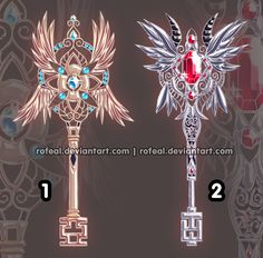 Another pair of my species of wings: Magictree wings! Adopted by You are free to edit them as long as you give credit ♥ Adoptable Magictree Wings -CLOSED- Anime Weapons, Fantasy Weapons, Character Concept, Character Design, Weapon Concept Art, Anime Outfits, Wands, Fantasy Art, Artwork