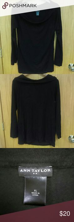 Sweater Like new long sleeve Ann Taylor swoop neck black sweater size XL. In excellent condition Ann Taylor Sweaters Crew & Scoop Necks