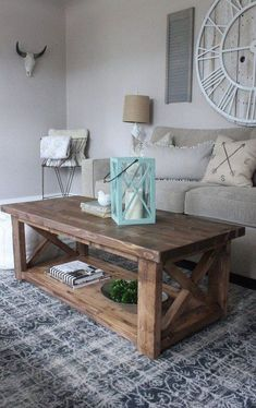 Fantastic Wood Table Design Ideas For Your Living Room Home Ideas X Frame Coffee Table, Rustic Coffee Tables, Diy Coffee Table, Decorating Coffee Tables, Coffee Table Design, Diy Table, Table Tray, Table Legs, Living Room Decor Images