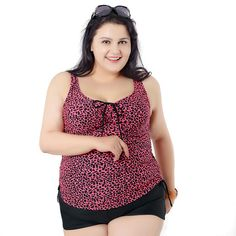New Big women Leopard Swimsuit 2016 Summer beach women Plus Size swimwear wear tankinis two piece beachwear 54-62