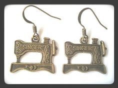 Antique Singer Sewing Machine Dangle Earrings by ValiantEfforts $5.99