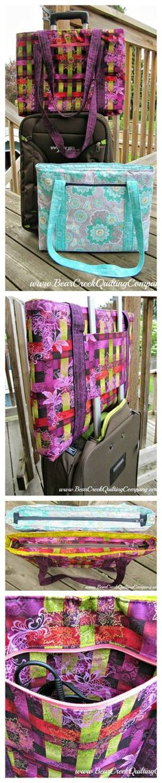 Free laptop bag sewing pattern. This laptop bag has extra secure shoulder straps and also an ingenious pocket that allows you to slip it over the handles of your roller case when you travel. Makes security easy!