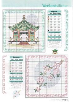 Borduurpatroon Allerlei & Vanalles Kruissteek *Cross Stitch Pattern ~Pagode en Bloesem *Pagoda and blossoms~