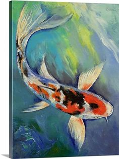 """Add a pop of color to your walls with """"Showa Butterfly Koi"""" canvas print by Michael Creese. Available for purchase at CanvasOnDemand.com."""