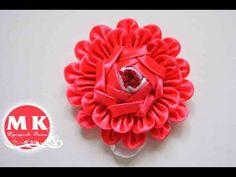 Мастер-класс Канзаши.Цветы из лент.Заколка для волос/Kanzashi Flower.