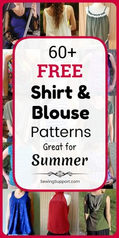 Free Sewing Patterns for Tops: 80+ free sewing patterns, diy projects, and tutorials for tops, shirts, and blouses for women. Many cute sleeveless and short sleeve styles for summer, simple tee refashions, knit and tank styles. #SewingSupport #Tops #Shirt #Patterns #Blouse #Free #Diy #DiyClothes #SewingPatterns