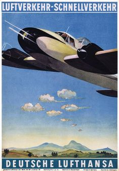 Luftverkehr-Schnellverkehr - Deutsche Lufthansa / 1937. Looks like it's firing a cannon, but perhaps that was veiled propaganda for planned military actions by the Nazis.