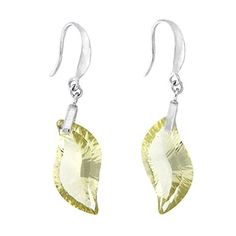 Lemon Quartz Curved Marquise Dangle Earrings *** Click on the image for additional details.