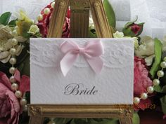 R0010 Romance A7 White Lace White Satin Bow Place Card SPECIAL OFFER Available from www.vintagelaceweddingcards.co.uk