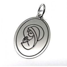 Colgante de plata de primera ley liso medalla Virgen Niña ovalado de 2 cm de largo y 1,5 cm de ancho especialmente diseñado para comunión. REF.:110267840072. PRECIO: 17,50 €