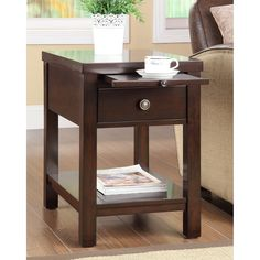 This functional side table has pull out drawer for storage and a pull out tray. This living space accent piece is ideal for use as a table to store your belongings. Materials: Wood veneer and hardwood Cherry End Tables, Round End Tables, Small End Tables, Sofa End Tables, A Table, Side Tables, Living Room Furniture, Home Furniture, Furniture Outlet
