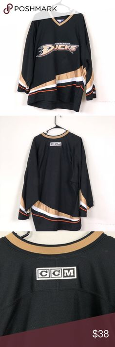 Used Anaheim Ducks hockey jersey Used blank Anaheim ducks hockey jersey CCM  OFFICIAL Canada adult xl . Has a small whole and stain on wrist (see pics  for ... 4592f0d35