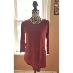 Maroon asymmetric hem top Brand new! Fits L/XL. Beautiful wine/burgundy color Tops Tees - Long Sleeve