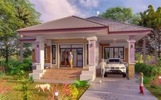 Awesome Three-bedroom House Design That Looks Simple Yet Attractive. Simple House Plans, Simple House Design, Modern House Plans, Modern House Design, Three Bedroom House Plan, House Plans One Story, Modern Bungalow House, Bungalow House Plans, House Design Pictures