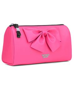 Large Cosmetic Bag in Pink Bow - Victoria's Secret - Victoria's Secret Victoria Secret Perfume, Victoria Secret Makeup, Victoria Secret Pink, Victoria Secrets, Victoria Secret Outfits, Large Cosmetic Bag, Cosmetic Pouch, Cos Bags, Pink Handbags