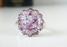 New 9.66ct Rose De France Natural Amethyst Halo Sterling Silver 925 Ring Size 10 #Designer #Cluster