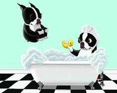 Bath Time - 11 x 14 Boston Terrier Dog Art by rubenacker on Etsy https://www.etsy.com/listing/80077016/bath-time-11-x-14-boston-terrier-dog-art
