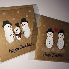 -Cartes de Noël à la main de bonhomme de neige - lot de 2 carrés 3,5 « x 3.5 »