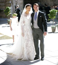 Beautiful couple: prince Felix of Luxembourg and Claire Lademacher wearing a delicate and lovely dress by Elie Saab Royal Brides, Royal Weddings, Elie Saab, Grace Kelly, Beautiful Couple, Lovely Dresses, Royal Fashion, Here Comes The Bride, Bridal Dresses