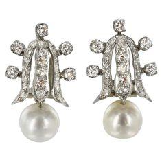 1stdibs.com   OSTIER 1950's Gold, Diamond and Pearl Drop Earrings