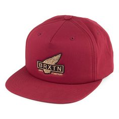 Brixton Hats Rawlins Snapback Cap - Burgundy from Village Hats.