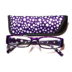 1.50 reading glasses purple polkadot with case 1.50 reading glasses purple and white polkadot pattern with case Accessories Glasses