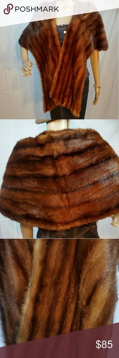 Vintage Auburn Mink Stole Wrap Cape Size L XL This vintage wild mink stole is in wonderful vintage condition with no flaws to the fur whatsoever. The lining is slightly faded in places but has no rips or tears to speak of. This would fit a size large or a plus size woman. You can see from the model who is a size 4 that it would generously fit a larger person like myself. All of our furs are cleaned on both sides before shipment. All flaws found will be repaired to the best of my ability…