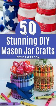 Check out these incredible mason jar decorating projects! So many great upcycled mason jar crafts for easy decorating in your home. Vases, wall sconces, DIY chandeliers, and more! Turn mason jars into beautiful home decor in minutes! Cute Kids Crafts, Easy Crafts, Diy And Crafts, Kid Crafts, Mason Jar Crafts, Mason Jar Diy, Upcycled Crafts, Handmade Crafts, Repurposed