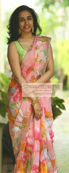 PV 3836 : Pink FloralPrice       : Rs 3300Pink floral cotton and linen mix sareeUnstitched blouse piece : GreenFor Order  22 August 2018