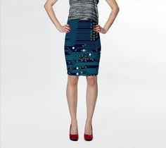 """Fitted Skirt """"Dark Circuit Board"""" by Jenny Mhairi"""