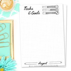 AUGUST TASKS & GOALS - 15 FREE PRINTABLE CALENDAR PAGES FOR YOUR BULLET JOURNAL AUGUST SETUP 2016 // I find it super helpful to plan out all my goals for the month in advance. It makes sure I focus on the right tasks and avoid procrastination. This easily happens while working from home without any supervision ò.O Also setting the little checkmarks gives me a feeling of accomplishment and the motivation to keep pushing and therefore moving closer to my long term goals.