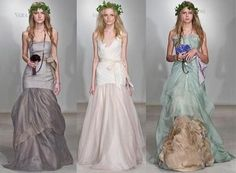 Vera Wang's mother nature inspired dresses are heavenly. Her models were beautifully imagined as Greek Goddess fairies with halos of ivy perched upon tousled hair, dressed in earth tones of grey, green, yellow, brown and, you guessed it, white. Wang...
