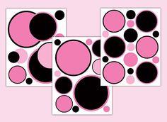 POLKA DOT DECAL Pink Black Girl Nursery Circle Wall Art Stickers Baby Room Decor Children Teen Bedroom Kids Geometric Modern Mod Design #decampstudios