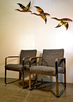 Pair of Solid Chrome Milo Baughman Arm Chairs by OffCenterDesign7