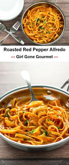 Rich and creamy roasted red pepper Alfredo