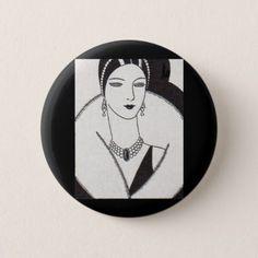 #1928 art deco woman pinback button - #deco #gifts