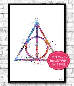 Harry Potter Deathly Hallows Watercolor print, Deathly Hallows Simbol, Deathly Hallows art, Giclee Wall Decor, Art Home Decor, Wall Hanging by ArtsPrint on Etsy https://www.etsy.com/listing/229464063/harry-potter-deathly-hallows-watercolor