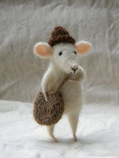 dear little mouse with bag and hat - needle felted ornament animal, felting dreams by johana molina. seems like a real little guy. sold. but there's more...