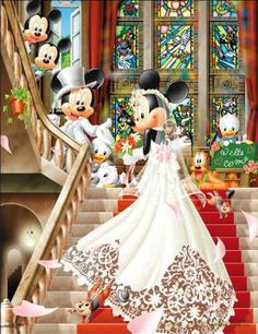 Love her dress. Hahaha. Mickey and Minnie Wedding