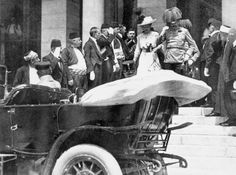 """""""Archduke Franz Ferdinand of Austria and his wife descend the steps of the City Hall, Sarajevo to their motor car, a few moments before their assassination."""", June 28th, 1914 via (Imperial War Museums)"""