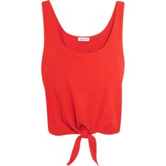 Splendid Tie-front cotton-jersey top ($35) ❤ liked on Polyvore featuring tops, shirts, crop tops, red, tank tops, cotton jersey, double layer top, crop shirt, tie-front shirts and tie front top