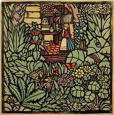 Franz von Zülow (Austrian,1883-1963)Frau Holle. Ein Märchen (Mother Hulda. A Fairy Tale), 190645,3 x 45,5 cm, paper stencil print and watercolor on paper